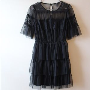 Black Tulle & Lace Dress